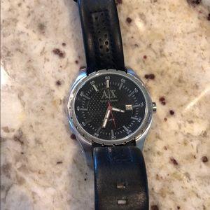 Men's black leather Armani Exchange watch